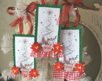 Christmas paper ornaments Vintage christmas card decor tree tags embellished tag ornament glittered party favor tags hostess gifts