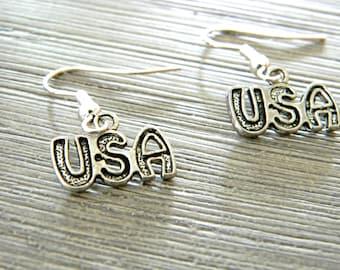 USA Earrings Dangle Earrings Silver Color Patriotic American Earrings