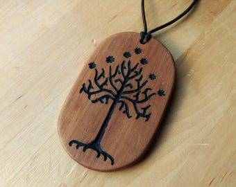 Wooden Tree of Gondor Pendant - Lord of the Rings