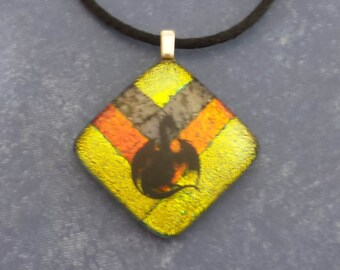Dragon Necklace, Yellow and Orange Dichroic Jewelry, Black Dragon Pendant, Fused Glass Jewelry, Ready to Ship - Night Fighter- -5