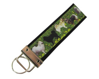Personalized Key Chain / Key Fob Keeshond Dogs With Optional Initials