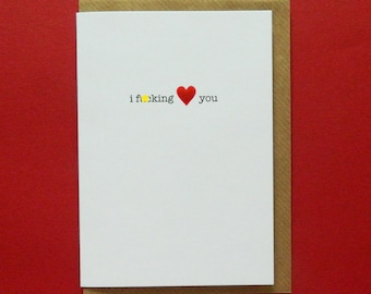 Personalised ~ I f*cking heart you, Birthday, Valentine, Anniversary, Love - Hand-enamelled art card.