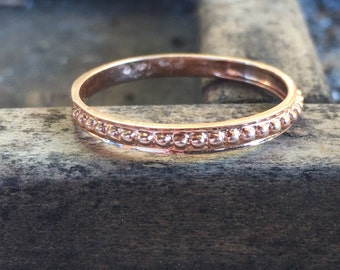 Beaded 14K Rose Gold Stacking Band - Wedding Band