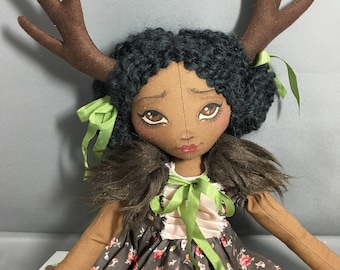 African American Deer Fawn Doll Mori Girl Wood Nymph, Art Doll, Fabric Cloth Rag , Antlers Fur collar vintage lace and fabrics