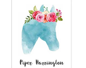 Watercolor Horse with Rose Crown - 25 Folded Notes