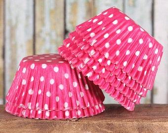 Pink Polka Dot Cupcake Liners, Pink Polka Dot Baking Cups, Pink Cupcake Liners, Pink Cupcake Wrappers, Pink Baking Cups, Valentine's Liners