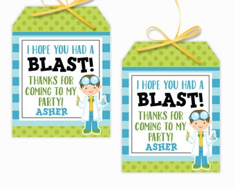 Personalized Boy Scientist Party Printable Hang Tags, Science Party Custom Thank You Tags, Scientist Party, 3x4 Gift Tags