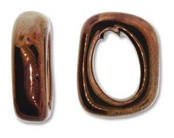 Ceramic Slider Antique Copper Spacer Beads Large Hole Oval Glossy Finish 7x15x18mm 2 pcs