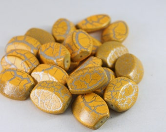Yellow-Orange and Silver Crackle Acrylic Oval Beads, Wholesale Bead Mix