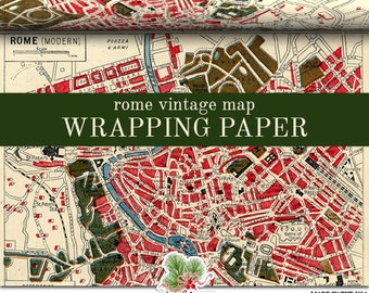 Maps Wrapping Paper Roll |  A Vintage Map Of Rome Gift Wrap Roll Which Repeats The Entire Length  In Two Sizes 2 ft W / By 9 ft or 18ft L