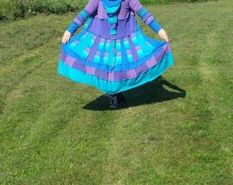 Upcycled pixie sweater coat recycled sweaters Katwise inspired faerie sweater coat goddess wear festival coat elf coat Mori girl kei