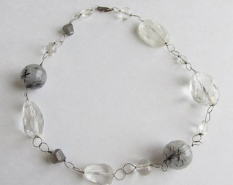 Rutilated Quartz Necklace or Chunky Choker on Sterling Silver Wire