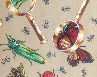 Bugs Under Magnifying Glass by Hi-Fashion Fabrics/Quilting Sewing Fabric/Insect Grasshopper Ladybug Butterfly Dragonfly/HALF YARD Pricing