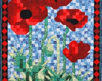 Quilt Pattern - PDF - Poppy Mosaic Art Quilt Pattern - Immediate Download