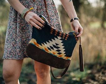 Southwest Crossbody Bag, Native Leather Bottom Bag, Black wool Purse, bohemian Leather Bag, Tribal Crossbody purse in pendleton wool