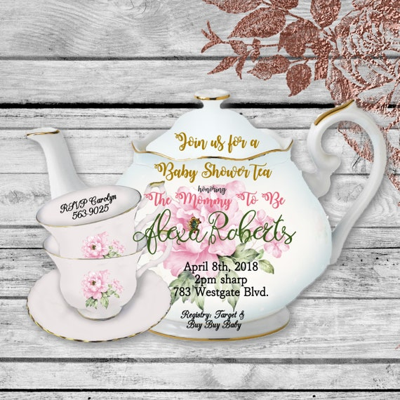 Baby shower tea shaped invitations unique bridal shower teapot like this item filmwisefo Gallery
