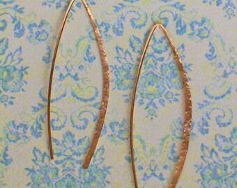 Delicate 2 inch Gold Hoops, Gold Threader Earrings, Open Hoop Earrings, Wishbone Gold Hammered Hoop Earrings, Made to Order