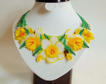 Yellow daffodils necklace Folk beaded necklace Exclusive handmade necklace Flowers necklace Nature Jewelry Daffodils flowers Beaded flowers
