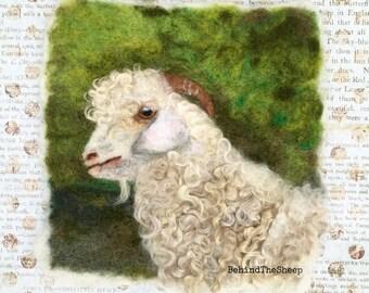 Angora goat wool painting, needle felted Angora goat wool painting, nursery, gift, birthday, cards,