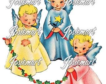 Vintage Digital Download Christmas Angel Trio Holly Vintage Image Collage Large JPG and PNG