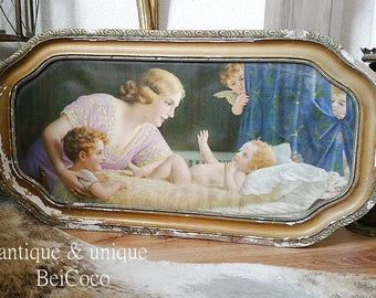 Magical, antique image, mother with child, Angel 1930s