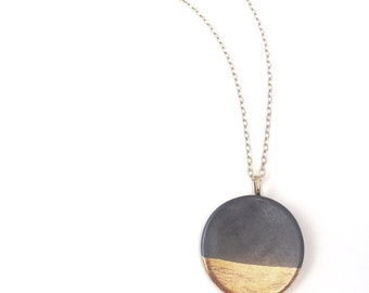handmade porcelain jewelry large circle pendant necklace modern in gray glaze and 22k gold accent