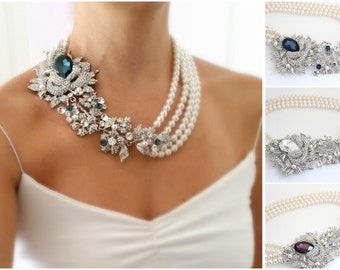 Chunky Statement Necklace, Bridal Statement Necklace, Pearl Brooch Necklace, The Great Gatsby Jewelry, Victorian Style Jewelry, Swarovski