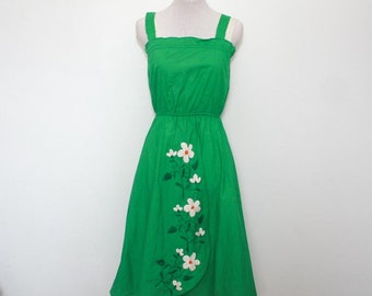 Green embroidered sundress