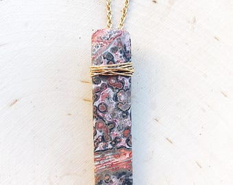 Reiki-Infused Leopardskin Jasper Pendant, Healing Crystal Jewelry, Gold Wire-Wrapped Necklace, Natural Stone, Gemstone, Boho, Gifts For Her