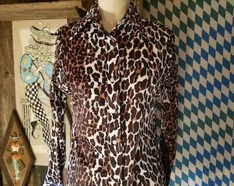 Rad leopard 70s 1970s butterfly collar print disco shirt 12/14 bombshell pinup rockabilly glam
