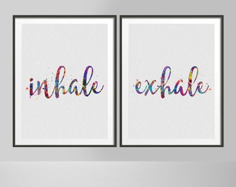 Inhale Exhale Watercolor Print Couple Print Set Modern Home Decor Ohm Relaxation Room Bedroom Decor Wedding Gift Home Decor Wall Art-385