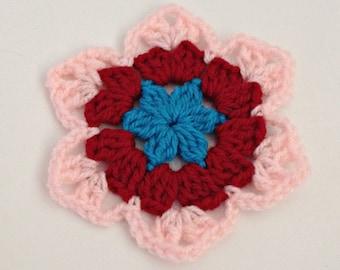 Crochet flower appliqué for headband flower, big star flower embellishment, craft diy headband supplies, headband diy kit