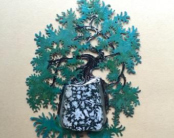 Kengai Cascade with Canadian Flower Gemstone - A Miniature Wall Sculpture