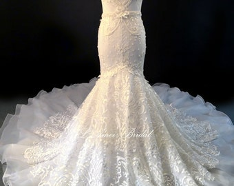Hand-beaded  Sweetheart Neckline Mermaid French Lace Wedding Bridal Dress with Long Train,  Plus Size Friendly to US24w