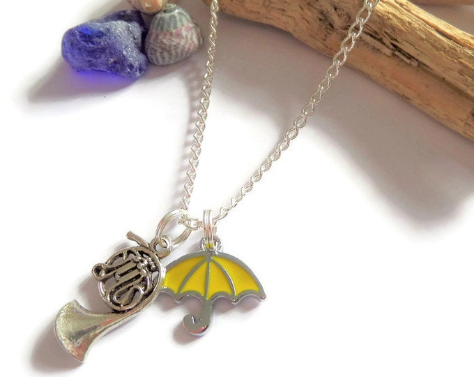 yellow umbrella necklace, trombone necklace, met your mother gift, french horn, fan gift jewellery, fandom, Uk
