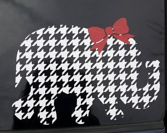 Houndstooth Elephant Vinyl Decal with Bow/ Elephant  Car Decal / Computer Decal / Wall Decor, Baby Elephant Sticker