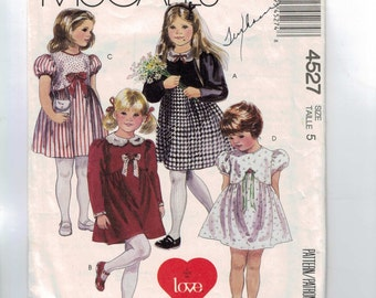 Childs Sewing Pattern McCalls 4527 Girls Party Dress Puff Sleeves Size 5 Breast 24 1989 80s