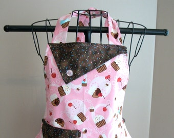 Pink Cupcake with Sprinkles - Women's Apron - Ruffle - Pocket - Baking - Sweets - Food