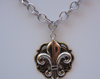 Fleur de Lis Necklace Silver on Antique Brass