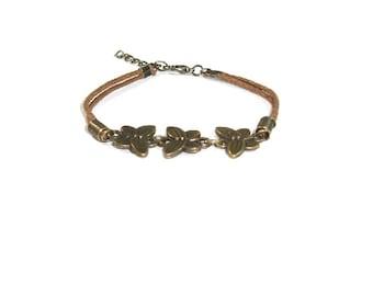 Butterfly Charm Bracelet , Antique Brass  Butterfly  Charm Stacking Bracelet
