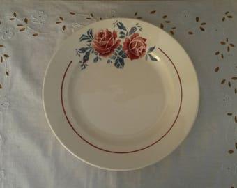Old hollow round Badonviller French ceramic dish