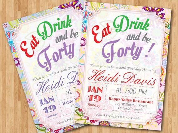 40th Birthday Invitation Woman Adult Birthday Party Invites