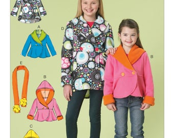 McCalls Sewing Pattern M7236, Girls Fleece Jacket, Girls Easy Hoodie, New Uncut Pattern