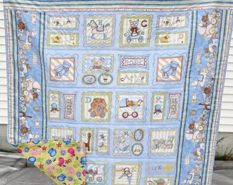 Baby Quilt/Blanket with Pictures of Toys