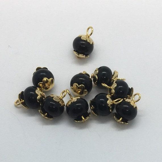 10 verdrahtet Charms Glas Perlen 8x6mm Rondelle schwarz