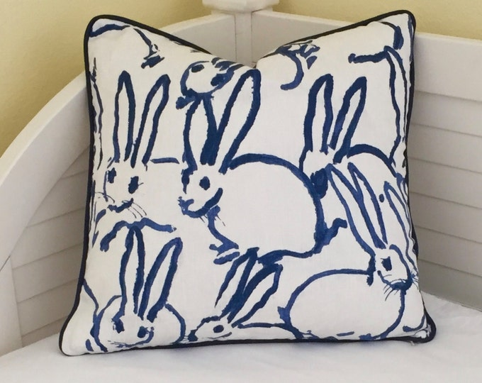 Bunny Hutch Print in Navy Pillow Cover with Choice of Piping Color,Hunt Slonem, Double Sided