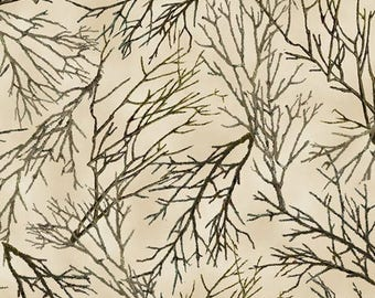"""Floral Fabric: Quilting Treasures Whitetail Ridge Branches Tree  100% cotton Fabric by the yard 36""""x43""""  (QT203)"""