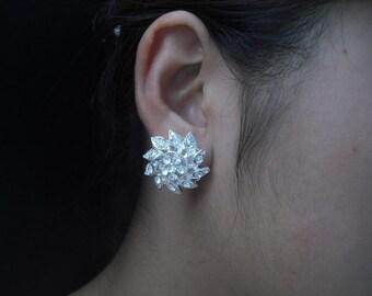 SALE - Savannah Collection, Bridal Earrings, Art Deco Rhinestone flower Crystal earrings, Vintage Style Bridal Earrings, Weddng Jewelry