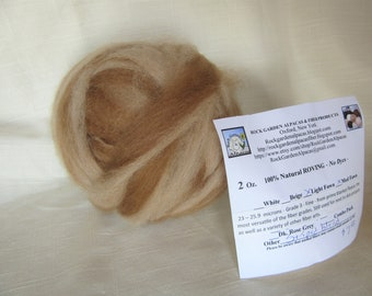 2 oz. Alpaca Light Fawn/Medium Fawn Striped Roving - for Spinning, Nuno Felting or Needlefelting
