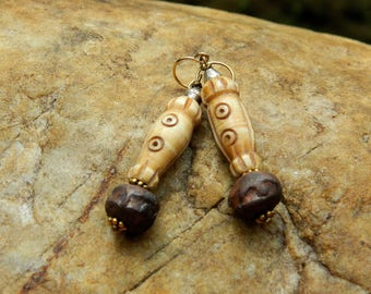 Rustic Carved Bone Earrings
